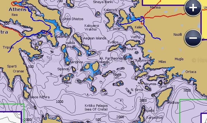 Υποθαλάσσιος χάρτης της Navionics