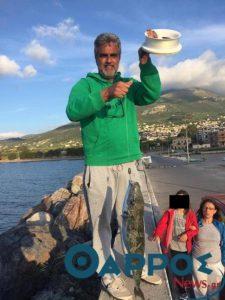 Έπιασε ζωντανό λαγοκέφαλο στο λιμάνι Κυπαρισσίας