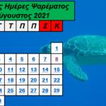 Αύγουστος 2021- Ιδανικές ημέρες και ώρες για ψάρεμα